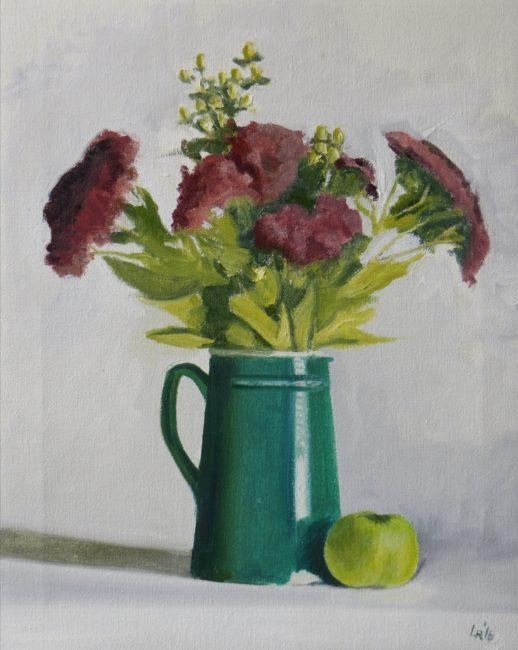 Green jug, 2016, huile sur toile, 51x41cm
